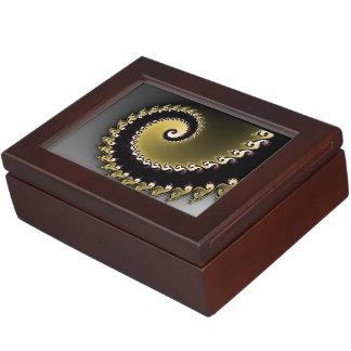 Fractal. Gold, silver, black. Keepsake Box