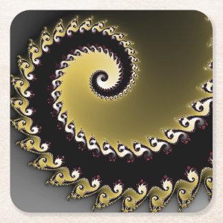Fractal. Gold, silver, black.silver Square Paper Coaster