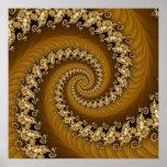 Fractal Golden Double Spiral Poster