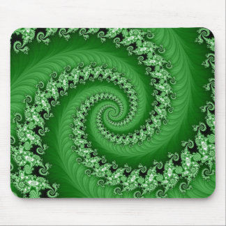 Fractal Green Double Spiral Mousepad