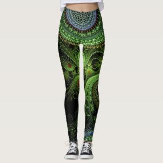 Fractal green leggings