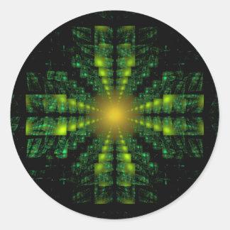 Fractal Green Square Cross Sticker