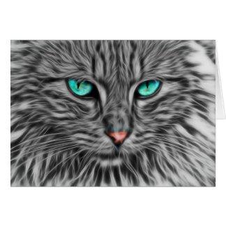 Fractal grey cat illustration card
