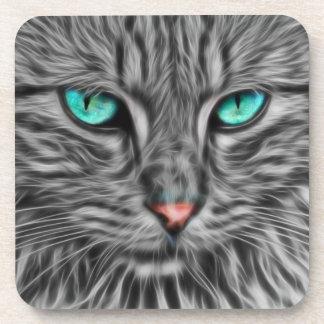 Fractal grey cat illustration drink coasters