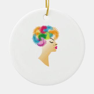 Fractal hair ceramic ornament