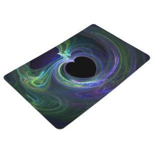 Fractal Heart - Glowing Blue Green Purple Streaks Floor Mat