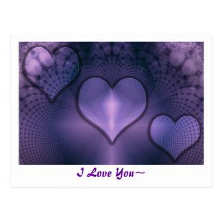 Fractal Hearts Purple Inmate Postcard
