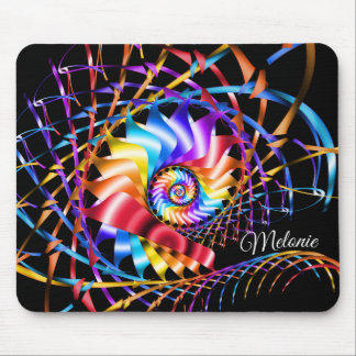 Fractal Illumination Spiral Add Name Mouse Pad