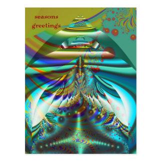 Fractal inner worlds seasons greetings postcard