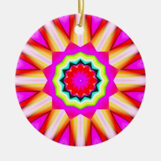 Fractal Kaleidoscope 01 Round Ceramic Decoration