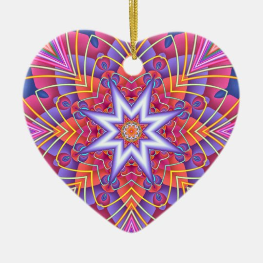 Fractal  Kaleidoscope Muted Pastels Heart Ceramic Ornament