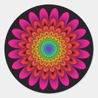 Fractal Kaleidoscope Rainbow Dahlia Classic Round Sticker