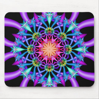 Fractal Kaleidoscope Rainbow Florets Mouse Pad