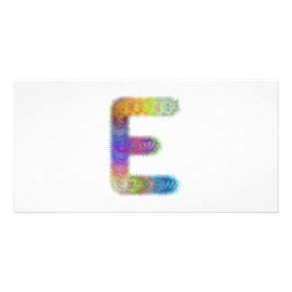Fractal letter E monogram Photo Card