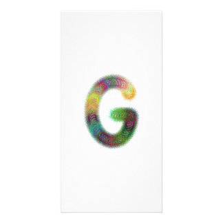 Fractal letter G monogram Photo Card