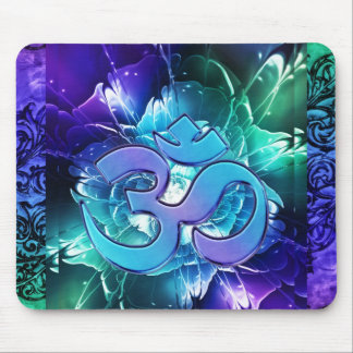 Fractal Lotus Flower With Om In Blues and Green Mouse Pad