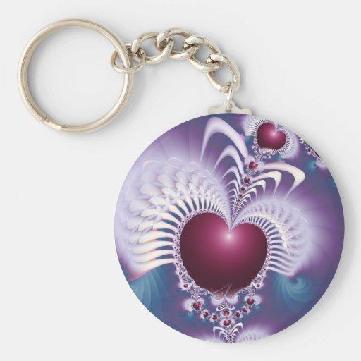 Fractal Love Hearts Basic Button Keychain