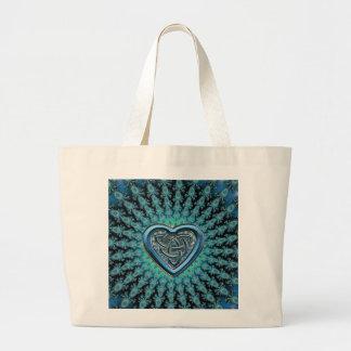 Fractal Mandala Celtic Heart Knot Jumbo Tote Bag