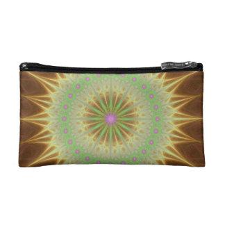 Fractal mandala sun makeup bag