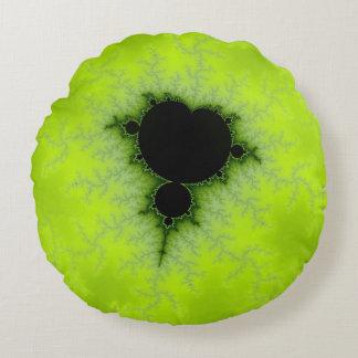 Fractal Mandelbrot Green Round Cushion