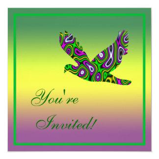 "Fractal Maze Yellow Green Magenta Dove 5.25"" Square Invitation Card"