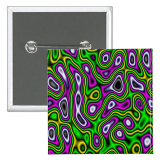 Fractal Maze Yellow Green Magenta Pinback Buttons