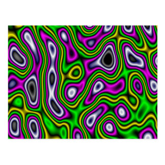 Fractal Maze Yellow Green Magenta Postcard