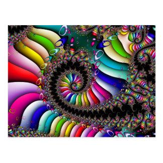 Fractal Multicolor Spiral Postcard