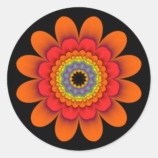 Fractal Orange Flower Power Stickers