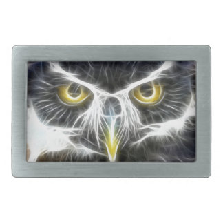 fractal owl design rectangular belt buckle