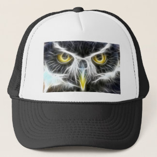 fractal owl design trucker hat