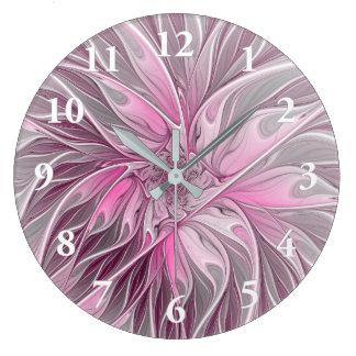 Fractal Pink Flower Dream, floral Fantasy Pattern Wall Clock