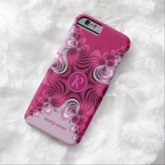 Fractal Pink Swirls Monogram Name iPhone6 Case