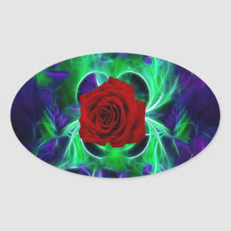 Fractal purple geen and red rose sticker