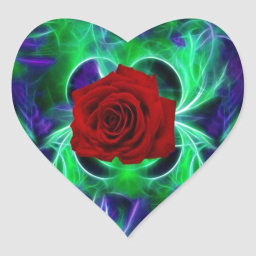 Fractal purple geen and red rose heart stickers