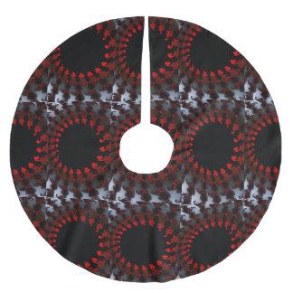 Fractal Red Black White Brushed Polyester Tree Skirt