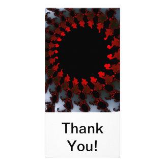 Fractal Red Black White Customised Photo Card