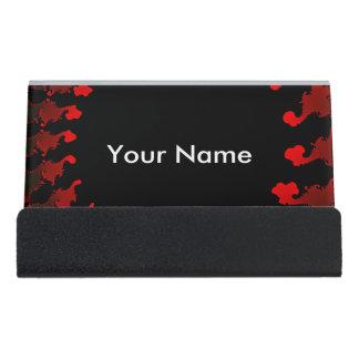 Fractal Red Black White Desk Business Card Holder
