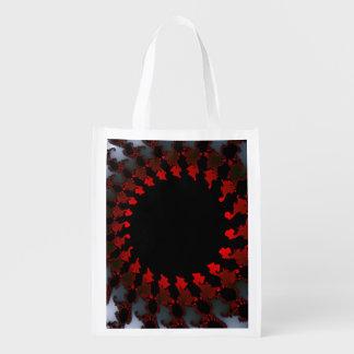 Fractal Red Black White Reusable Grocery Bag