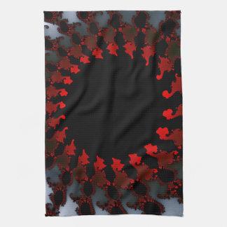Fractal Red Black White Tea Towel