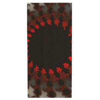 Fractal Red Black White Wood USB 2.0 Flash Drive