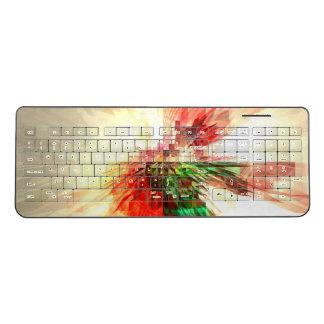 Fractal Red Orange Green Yellow Wireless Keyboard