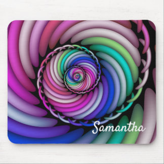 Fractal Spiral Candy Shop Add Name Mouse Pad