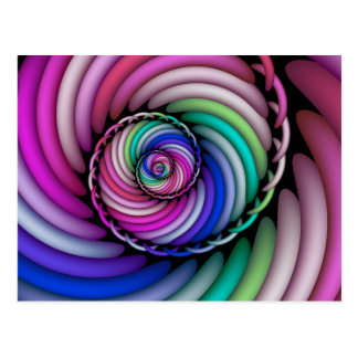 Fractal Spiral Candy Shop Postcard