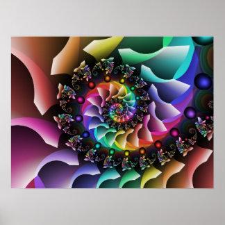 Fractal Spiral Color Parade Poster