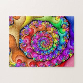 Fractal Spiral Rainbow Jigsaw Puzzle
