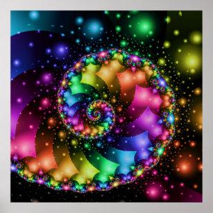 Fractal Spiral Rainbow Nebula Poster