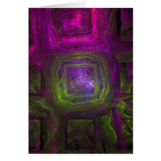 Fractal Squares in pink purple and green Card