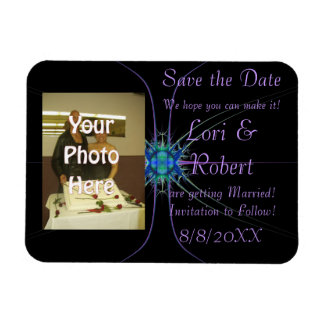 Fractal Star Photo Save the Date! Rectangular Photo Magnet