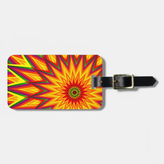 Fractal Sunflower Colorful Abstract Floral Art Luggage Tag